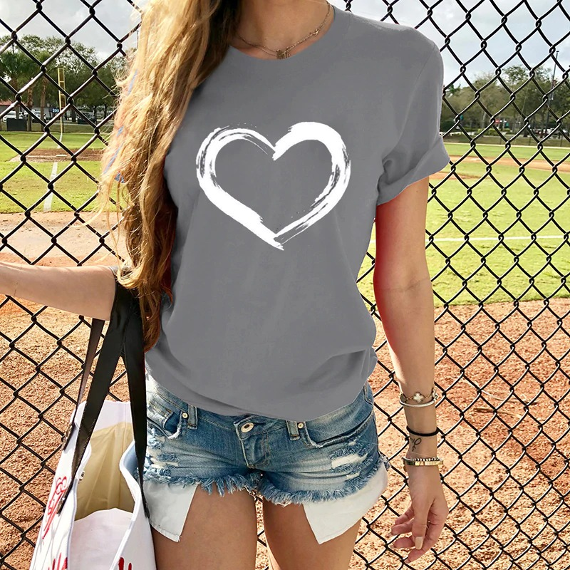 Painted Hearts Womens Casual T-shirt